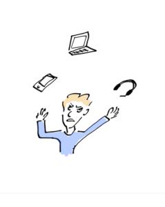 Sketch by Antoni Lacinai, unhappy man juggling a computer, a smartphone and headphones